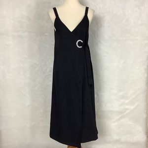 Modern Citizen Sleeveless Black Wrap Dress